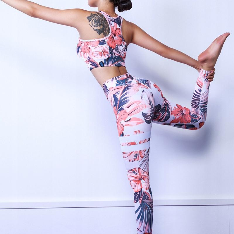 Strój sportowy top i legginsy gym fitness yoga M