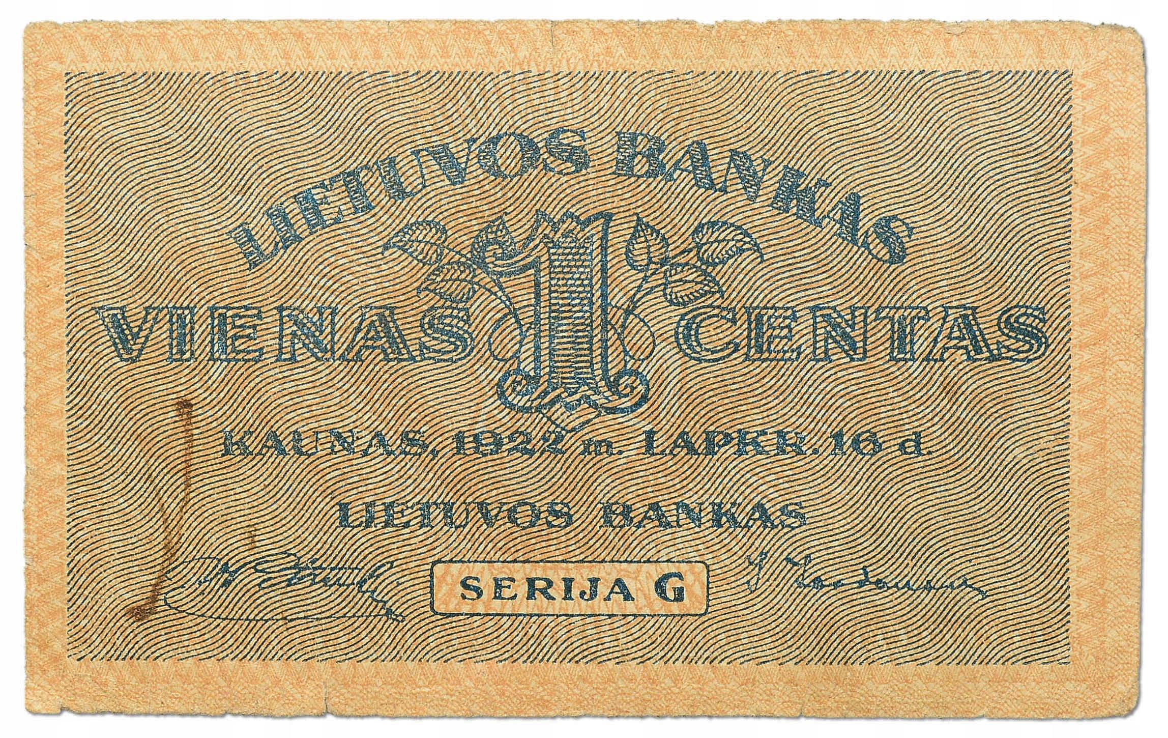 16.db.Litwa, 1 Centas 1922, P.7.a, St.3/3+