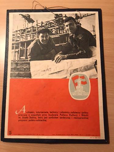 Tablica PRL Pałac Kultury PKiN Warszawa lata 50te