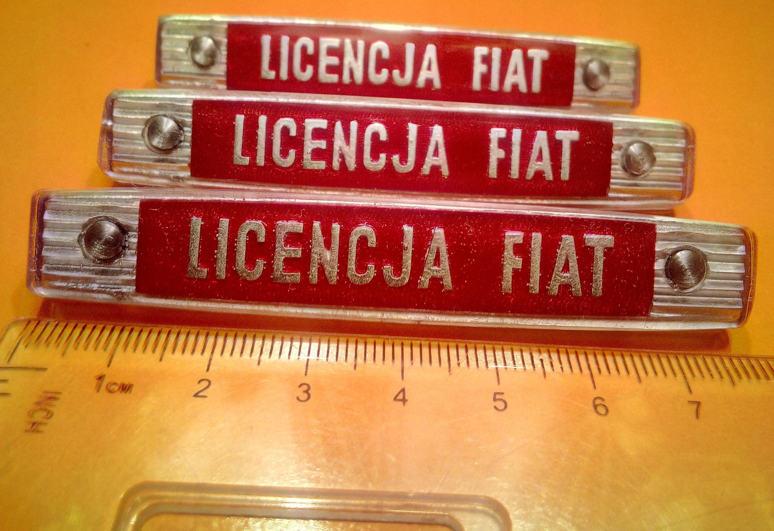 Znak LICENCJA FIAT do Fiata 125p 126p 127