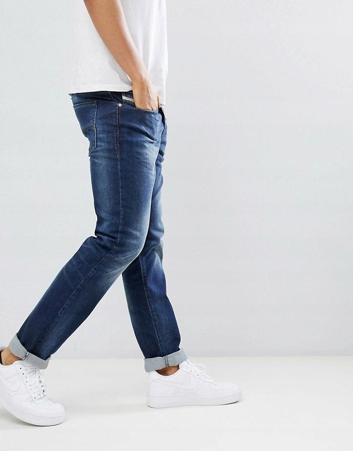 DIESEL Granatowe przecierane jeansy (W31L30)