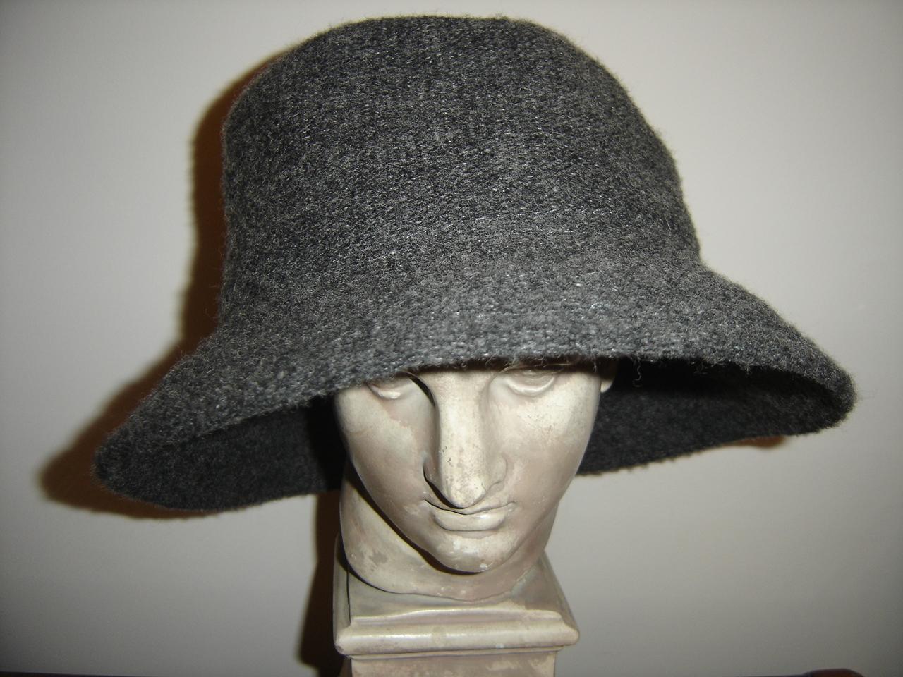 CANDA szary wełniany kapelusz BDB  55-56