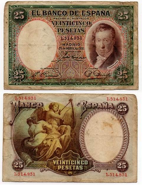 HISZPANIA 1931 25 PESETAS