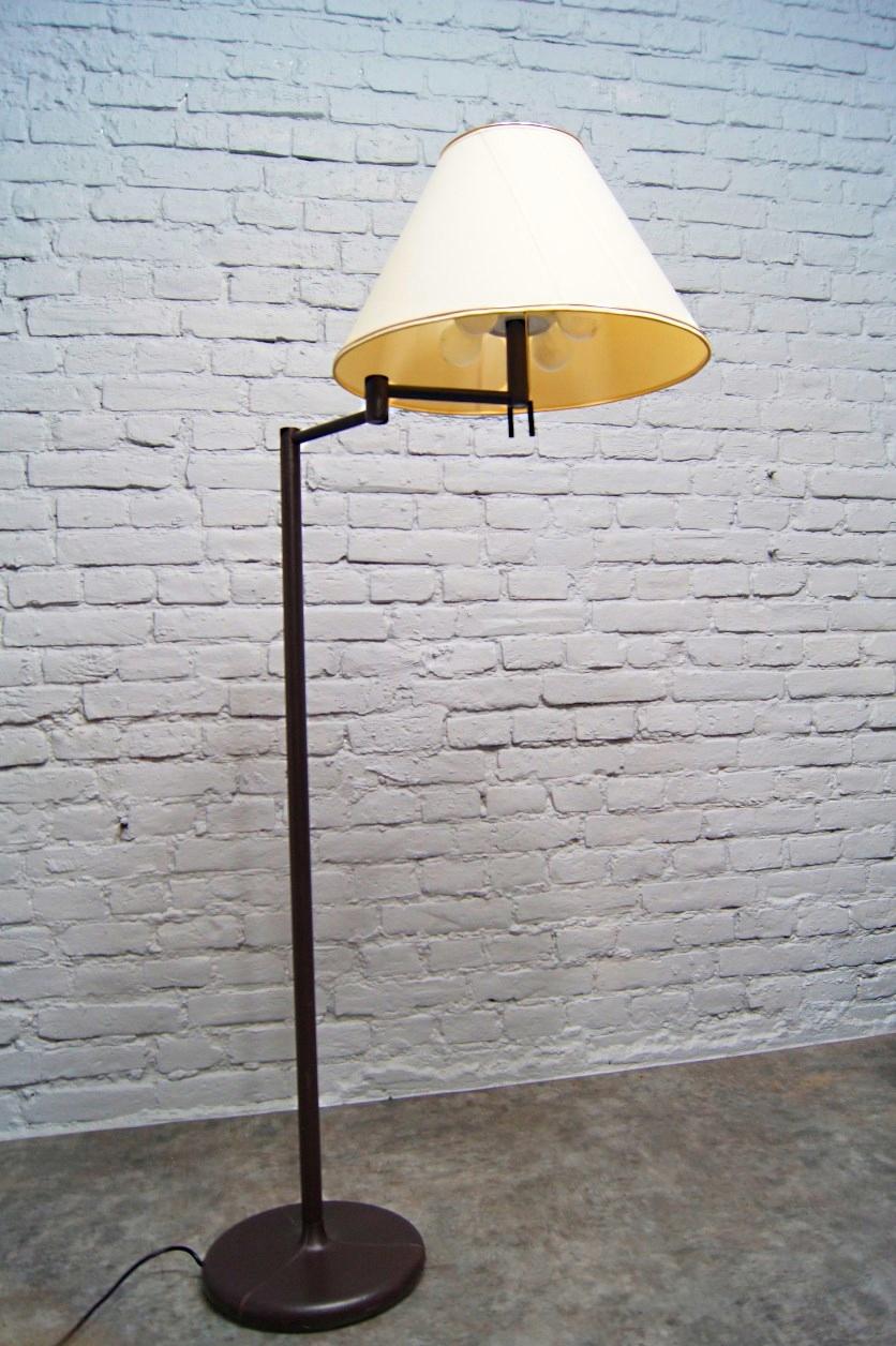 Skórzana Lampa Podłogowa design JACQUES ADNET, 60s