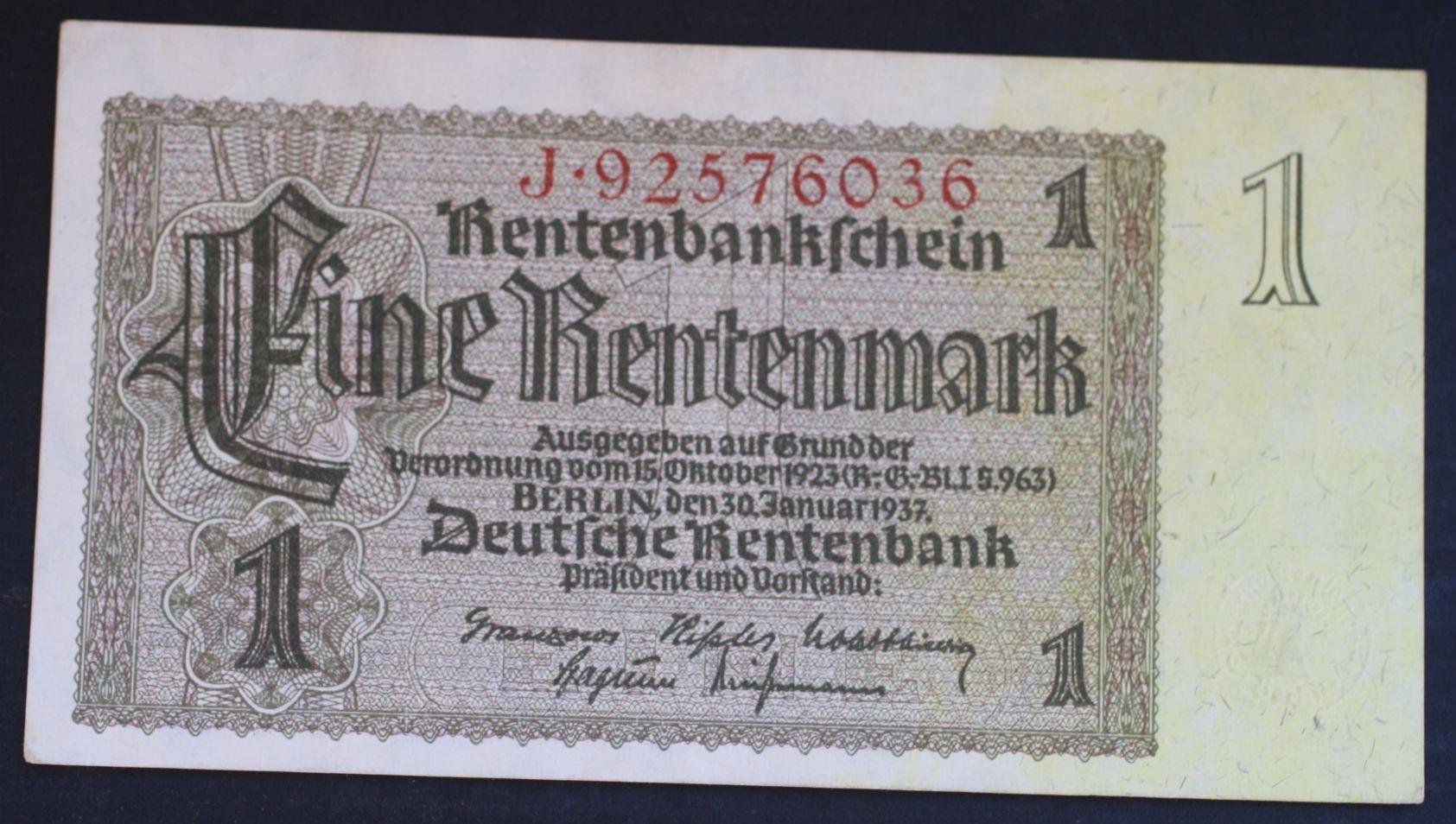 """""""1Rentenmark1937 Ros166B stan I- .od 3,99"""