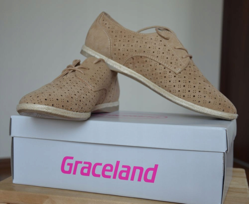 ___NOWE Półbuty beżowe ażurowe Graceland roz 39___