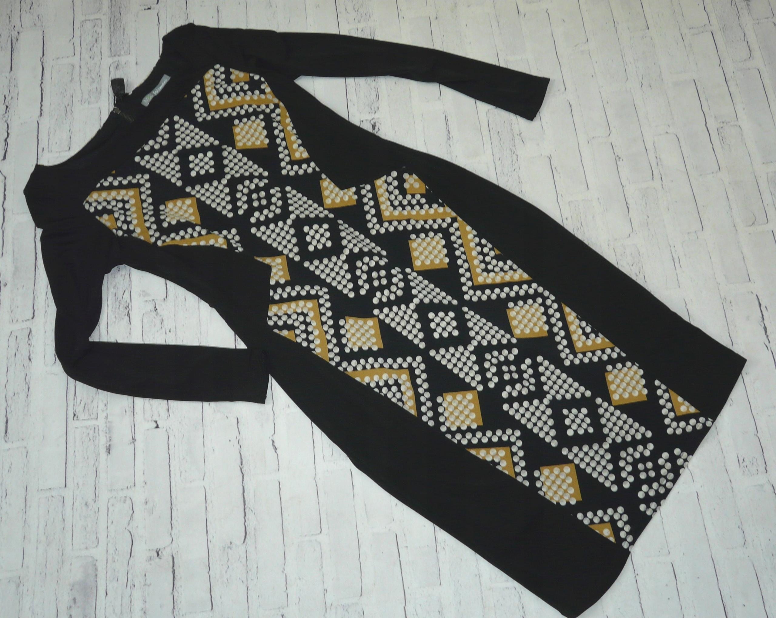 M&S WOMAN elegancka czarna sukienka panel 38