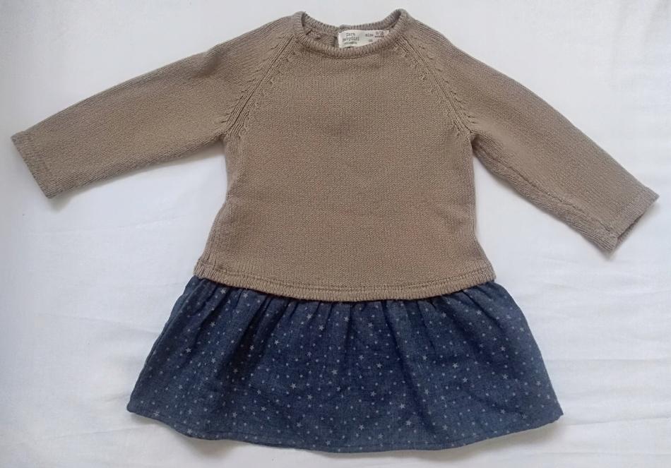 Sukienka z łączonych materiałów Zara r. 80
