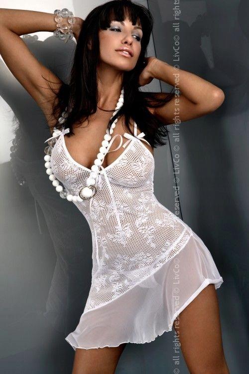Komplet biała koszulka elastyczna + stringi XL 42