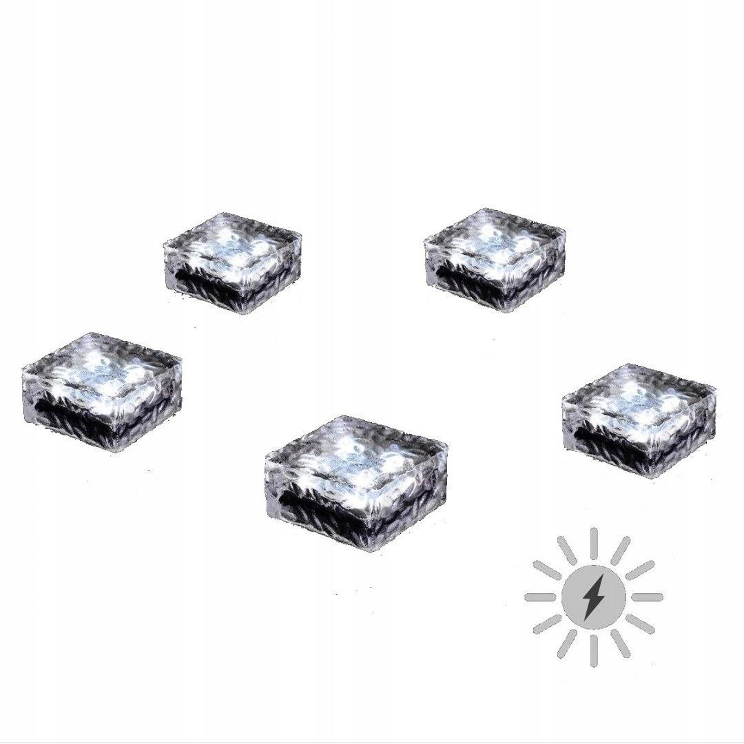 Lampki Solarne Ogrodowe Szklany Kamień Zestaw 5szt