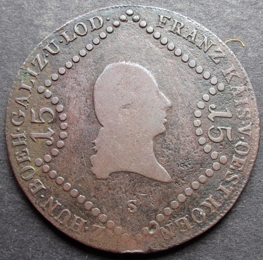 ANK AUSTRIA FRANZ 15 KREUZER 1807 S Schmollnitz
