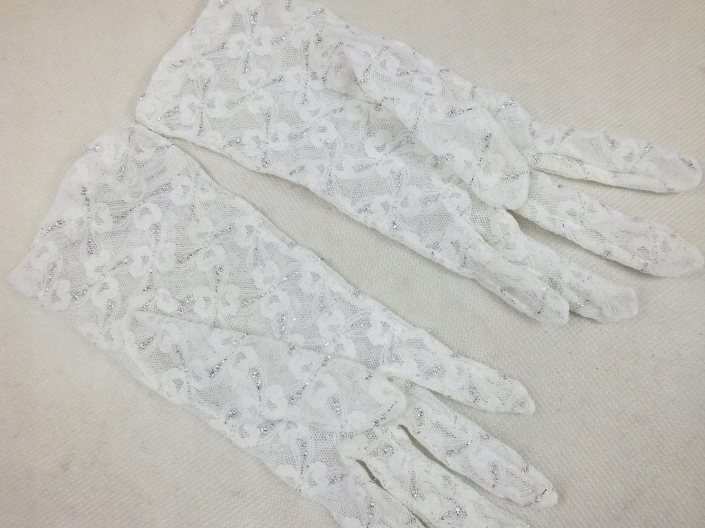 Białe koronkowe rękawiczki 8lat+