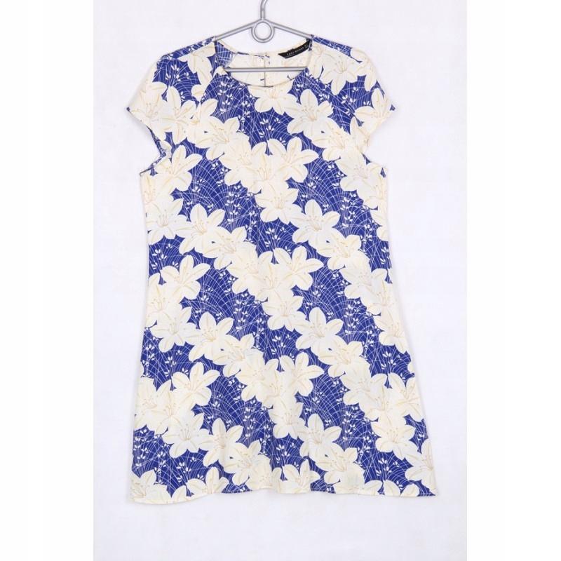 ZARA BLUE, WHITE FLORAL DRESS L kwiatowa lato 2018