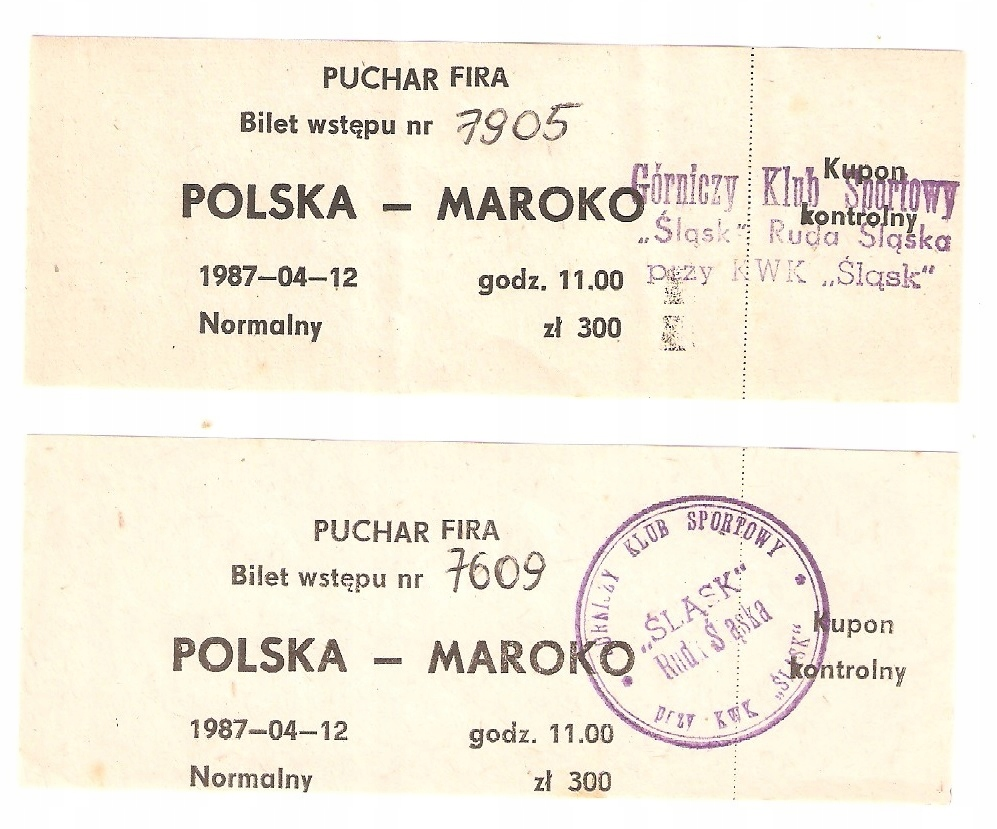 POLSKA - MAROKO 1987 ROK 2 SZTUKI