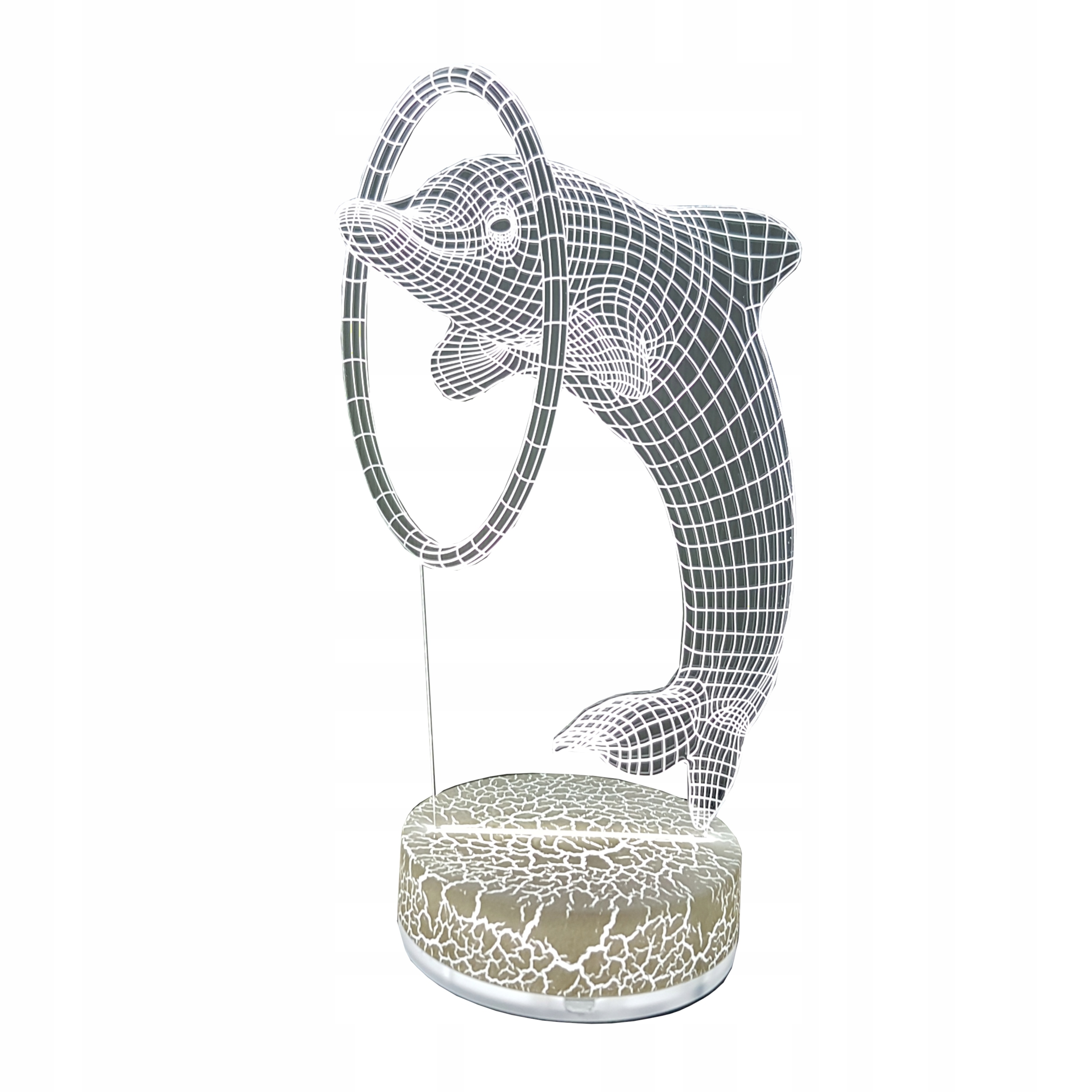Lampka Nocna 3D Hologram Walentynki Delfin Biały