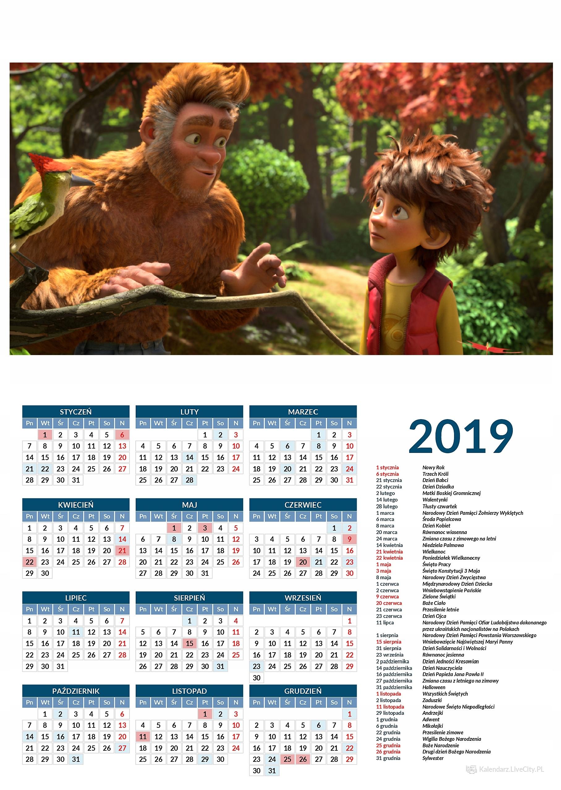 Kalendarz 2019 film mała wielka stopa