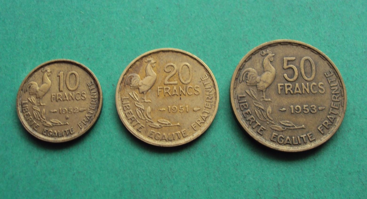 FRANCJA (Starsze) 10 20 50 Francs zestaw -k10