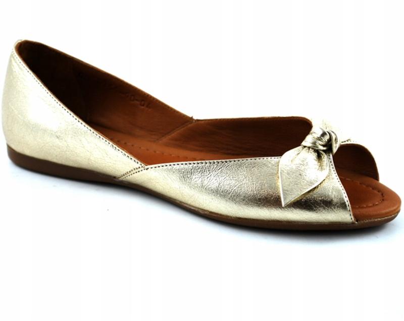 Badura 1557 baleriny damskie złote skóra R.39