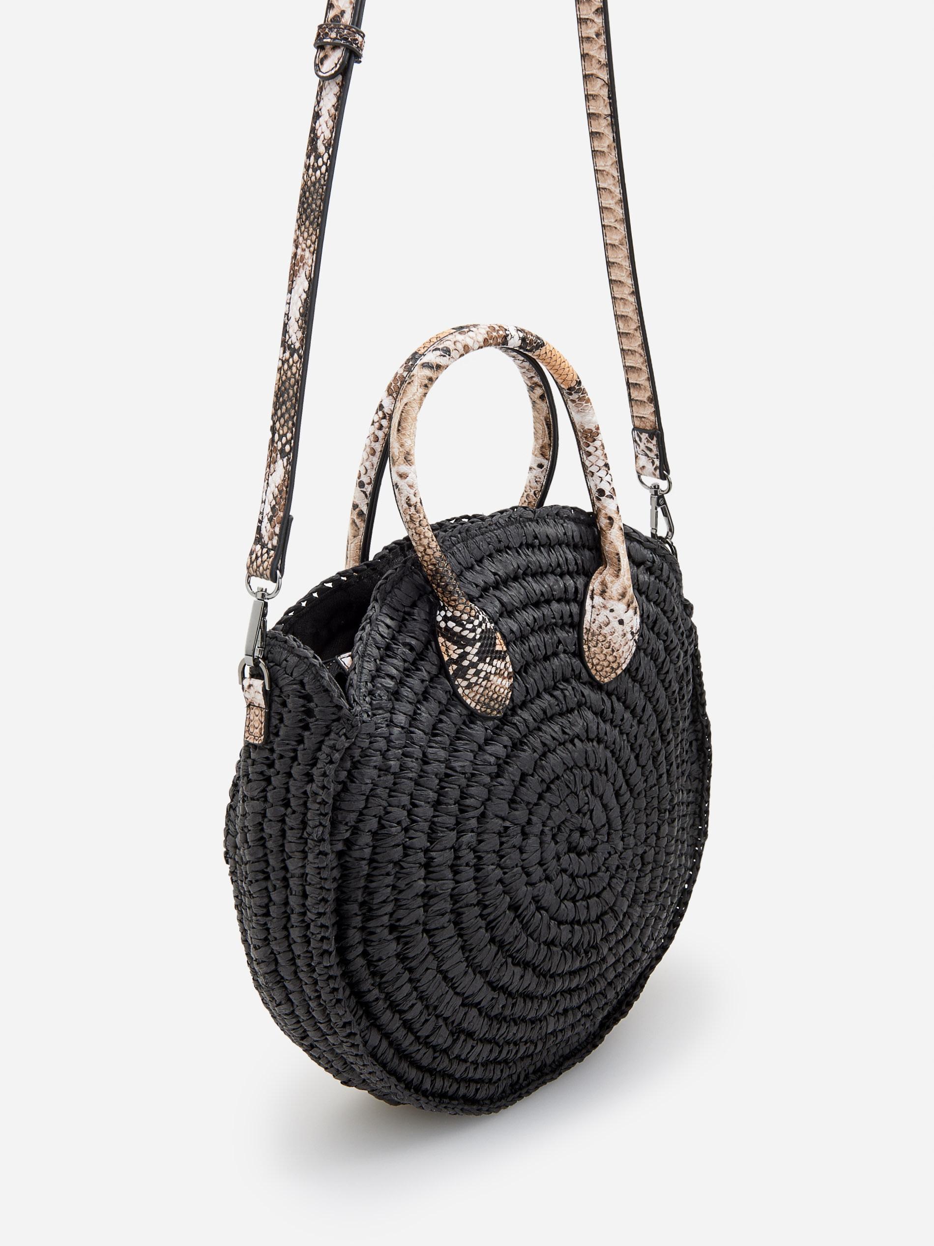 Piękny czarny koszyk Reserved z skóra węza wstawki
