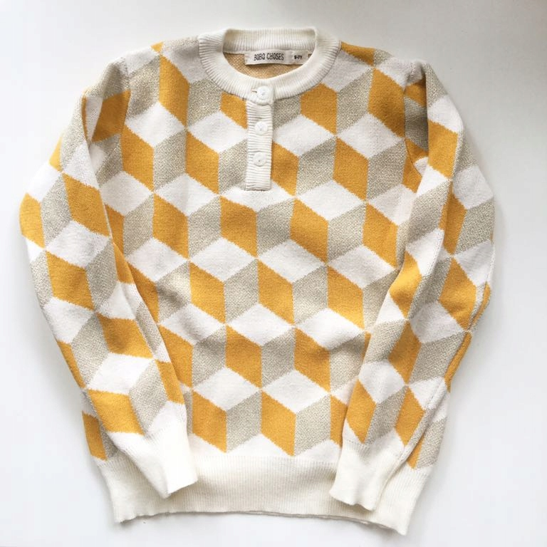 Bobo Choses Zara sweter musztardowe wzory 6/7