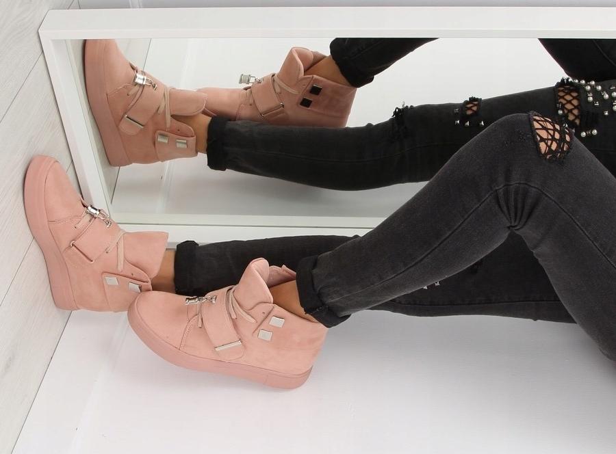 Sneakersy damskie różowe NC158 Koturn jakość