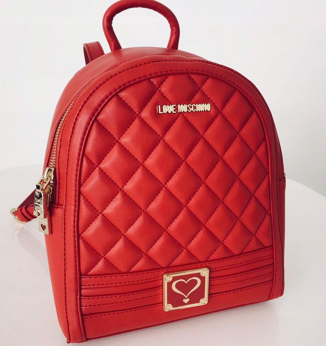 a50e3800409ec LOVE MOSCHINO pikowany plecak czerwony - 7572768380 - oficjalne ...