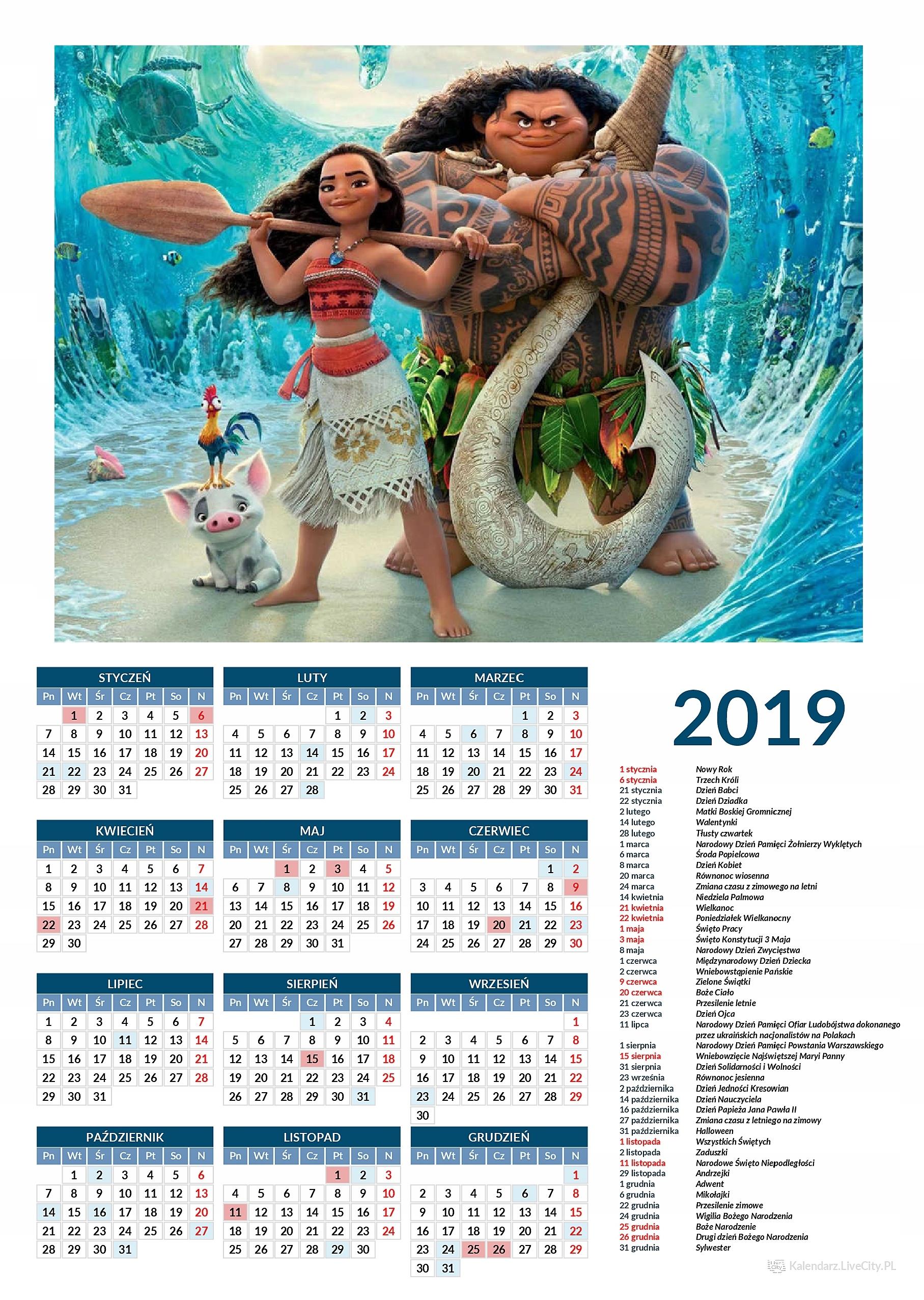 Kalendarz 2019 film Vaiana Skarb oceanu