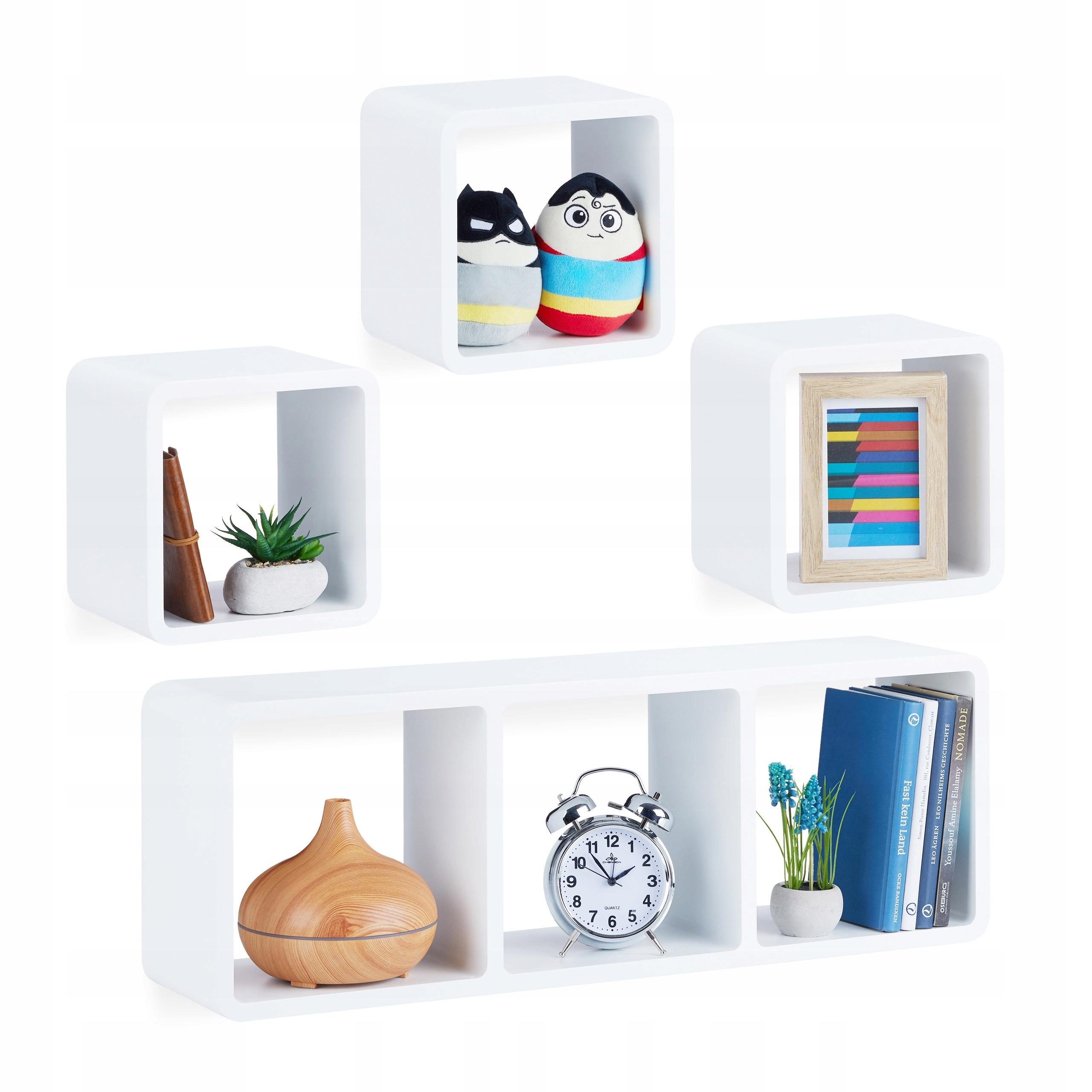 4 Półki Na ścianę ścienne Wiszące Samowiszące Cube