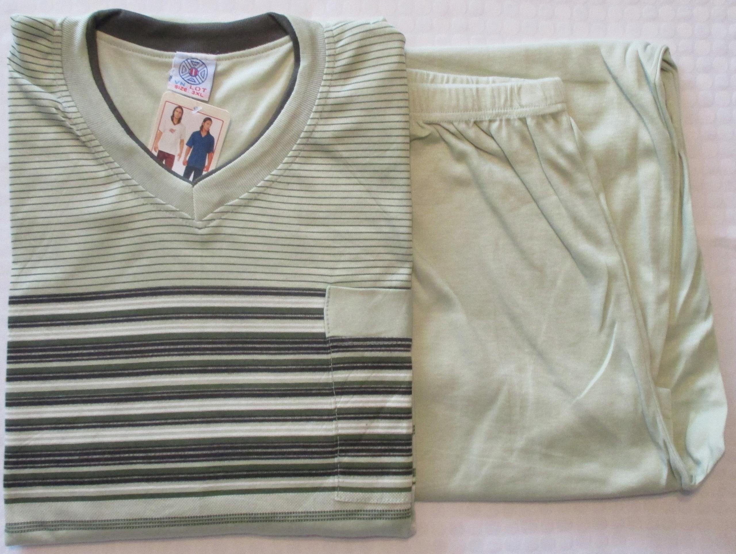 Piżama męska L BAWEŁNA krótki rękaw długie spodnie