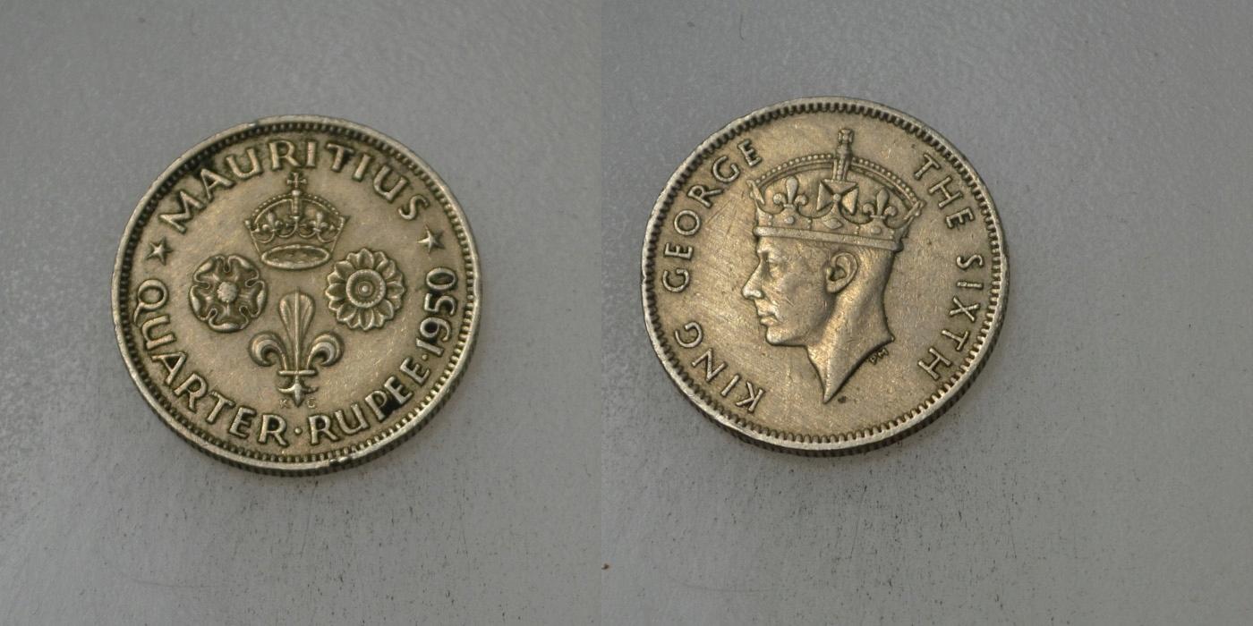 Mauritius 1/4 Rupia 1950 rok BCM