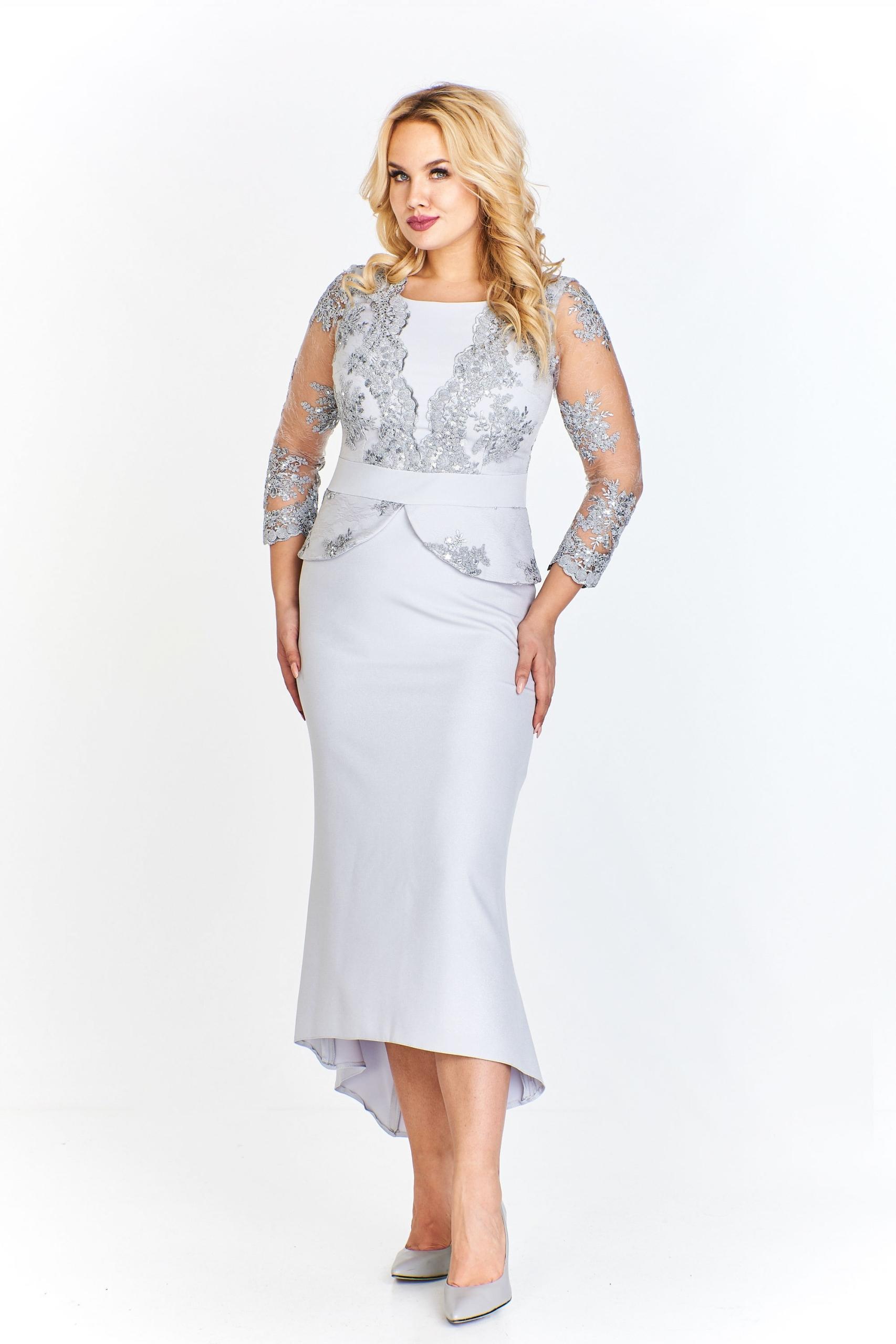 e58520a442 Długa szara sukienka z koronkową górą 46 - 7705241986 - oficjalne ...