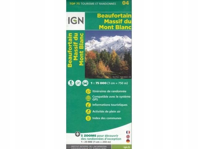 Mapa turystyczna Beaufortain Massif du Mont Blanc