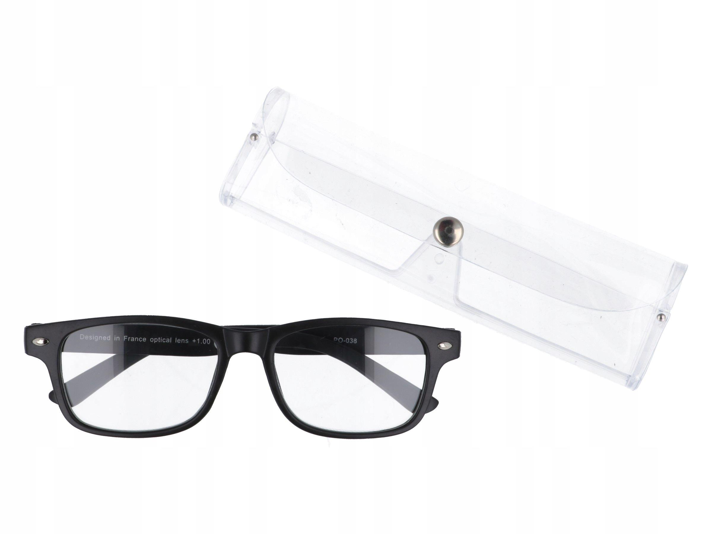 Czarne damskie okulary do czytania plusy +1.50
