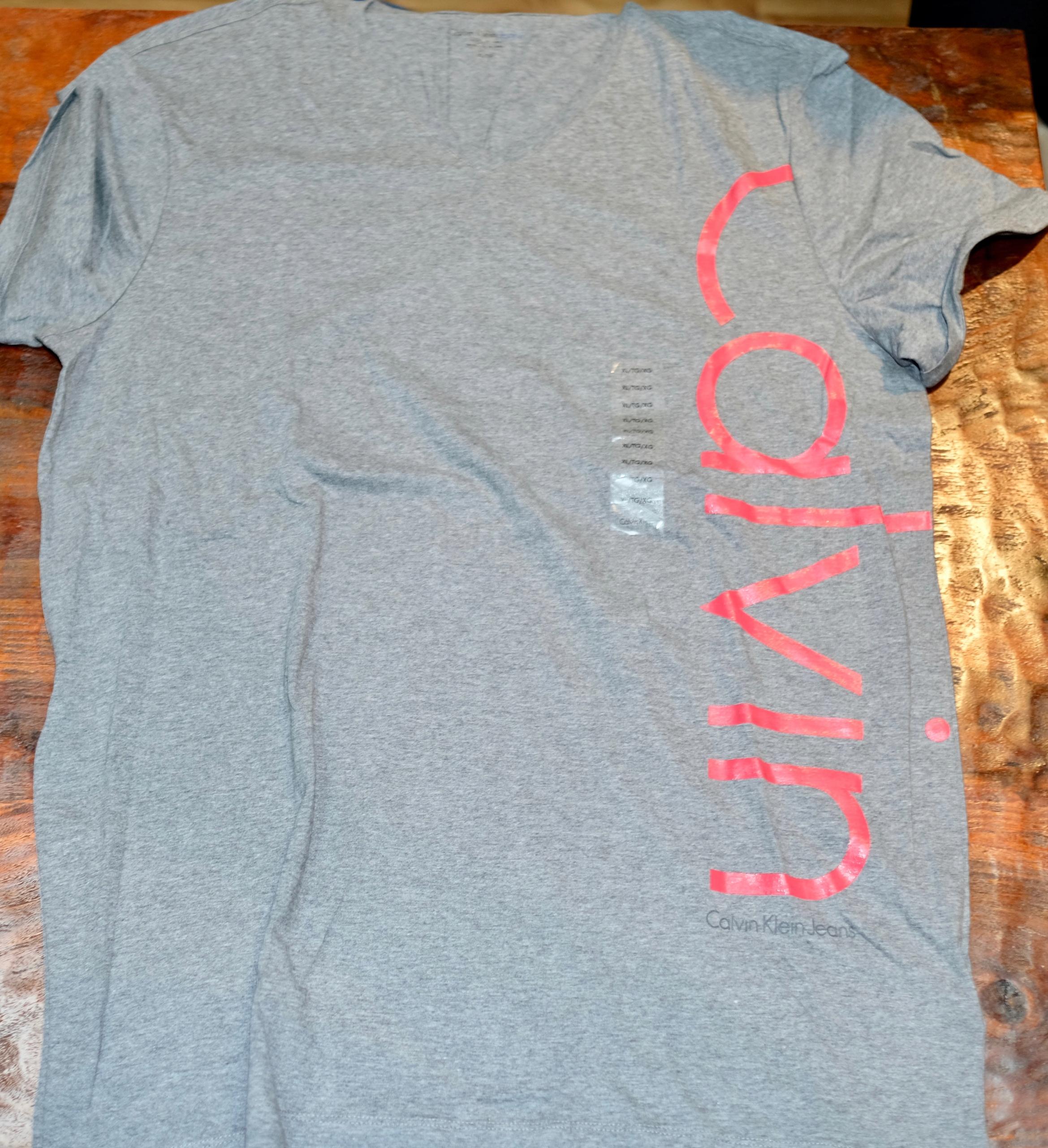 CALVIN KLEIN T-Shirt rozmiar XL szary zUSA100%Org