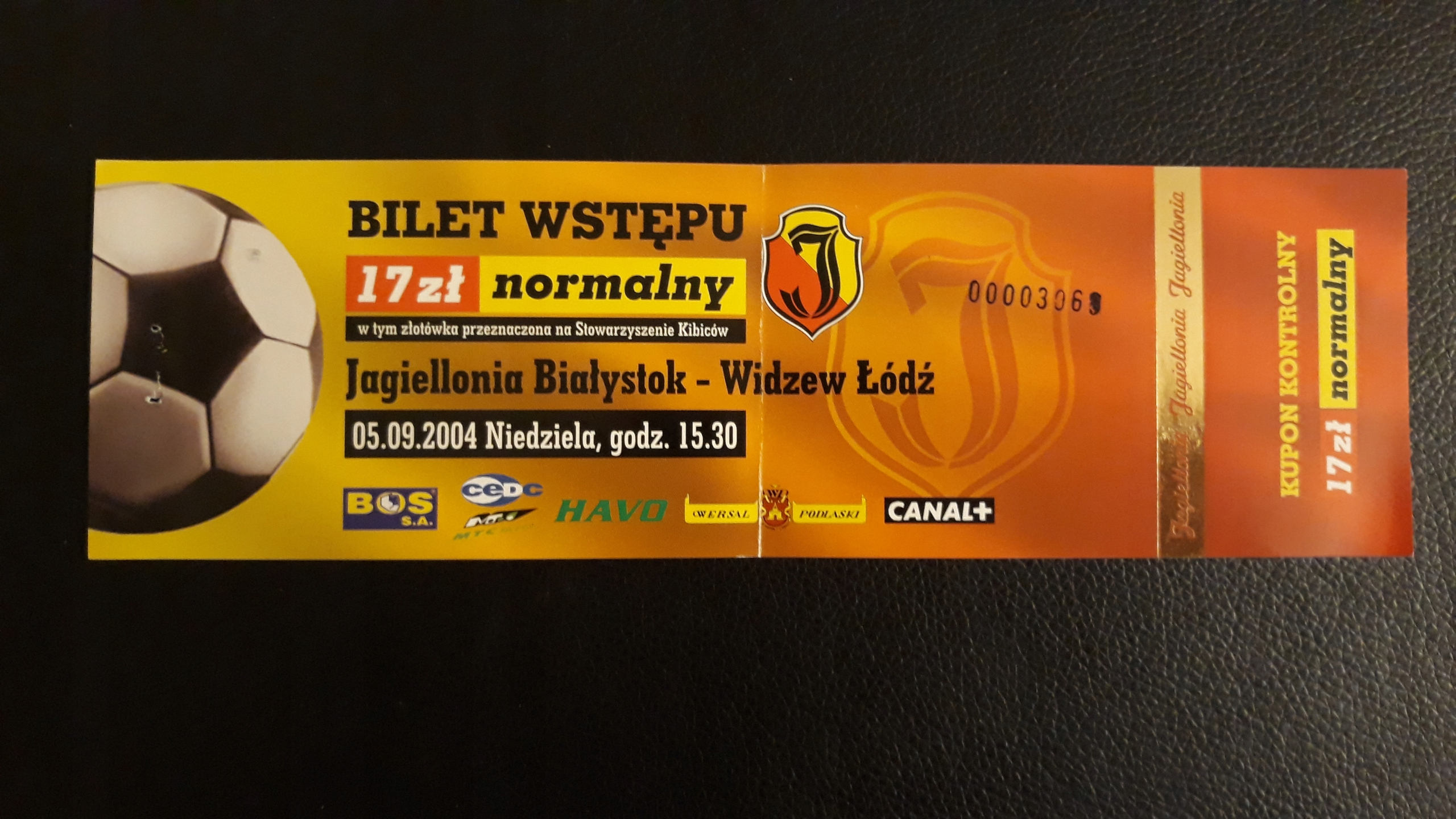 bilet Jagiellonia B-stok- Widzew Łódź 5.09.2004