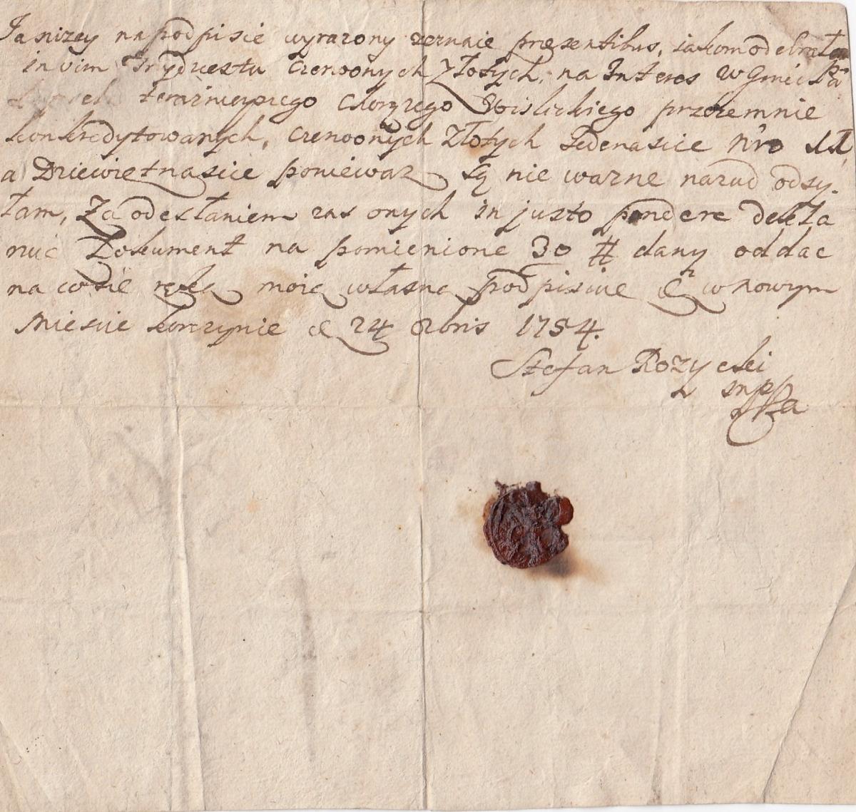 1754 finanse Różycki pieczeć lakowa czerwone zł