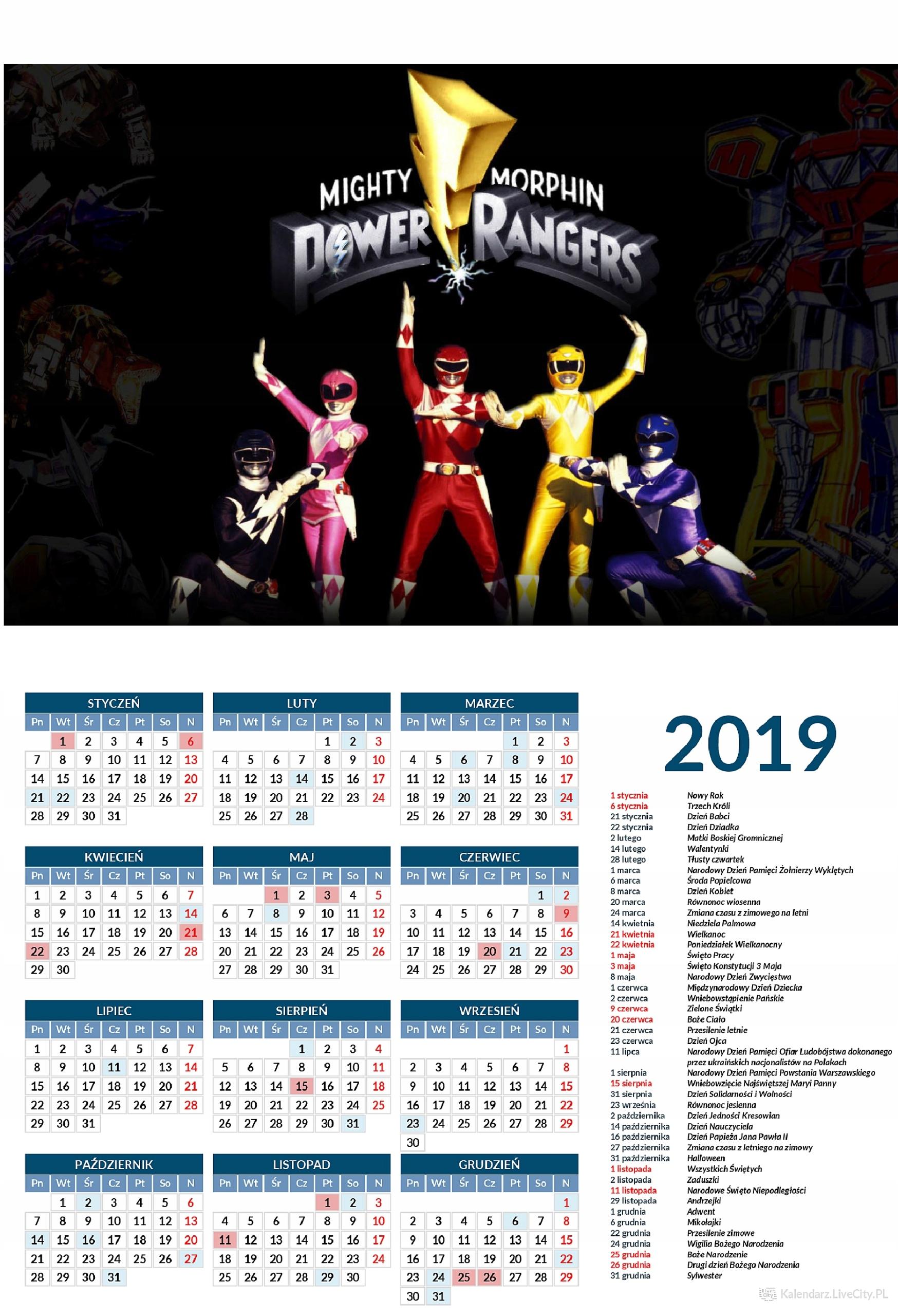 Kalendarz 2019 GRA POWER RANGERS MIGHTY POWER