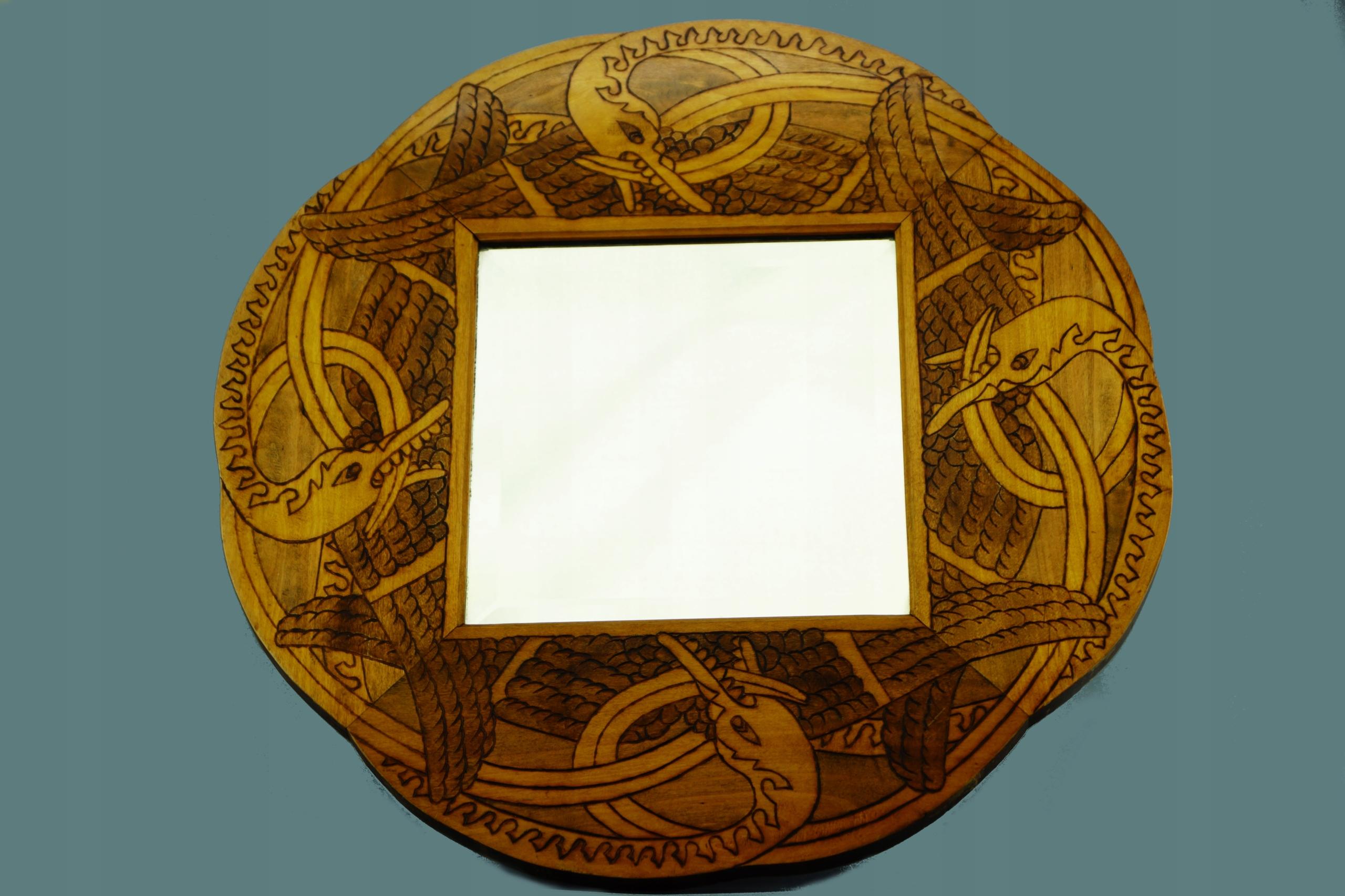 stare drewniane rzeźbione lustro
