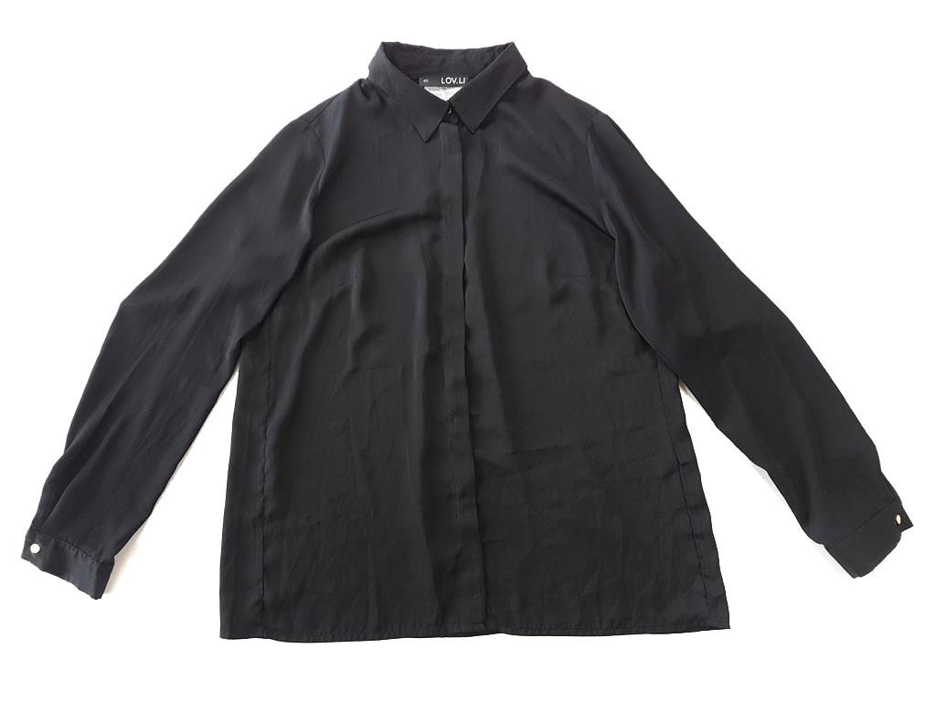 7852 ZWIEWNA czarna elegancka KOSZULA date L 40