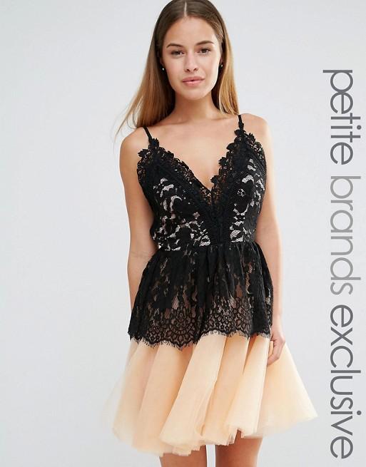 TRUE DECADENCE koronka top tiul nude sukienka 42