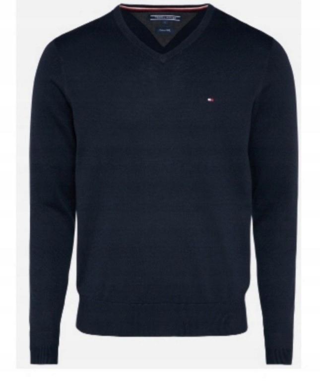 sweter tommy hilfiger granatowy V neck XL