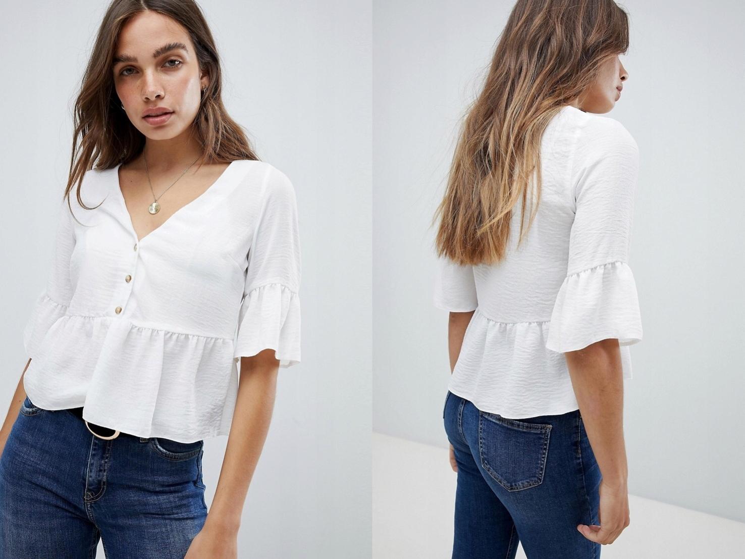New Look kremowa bluzka z falbanką XXS/32