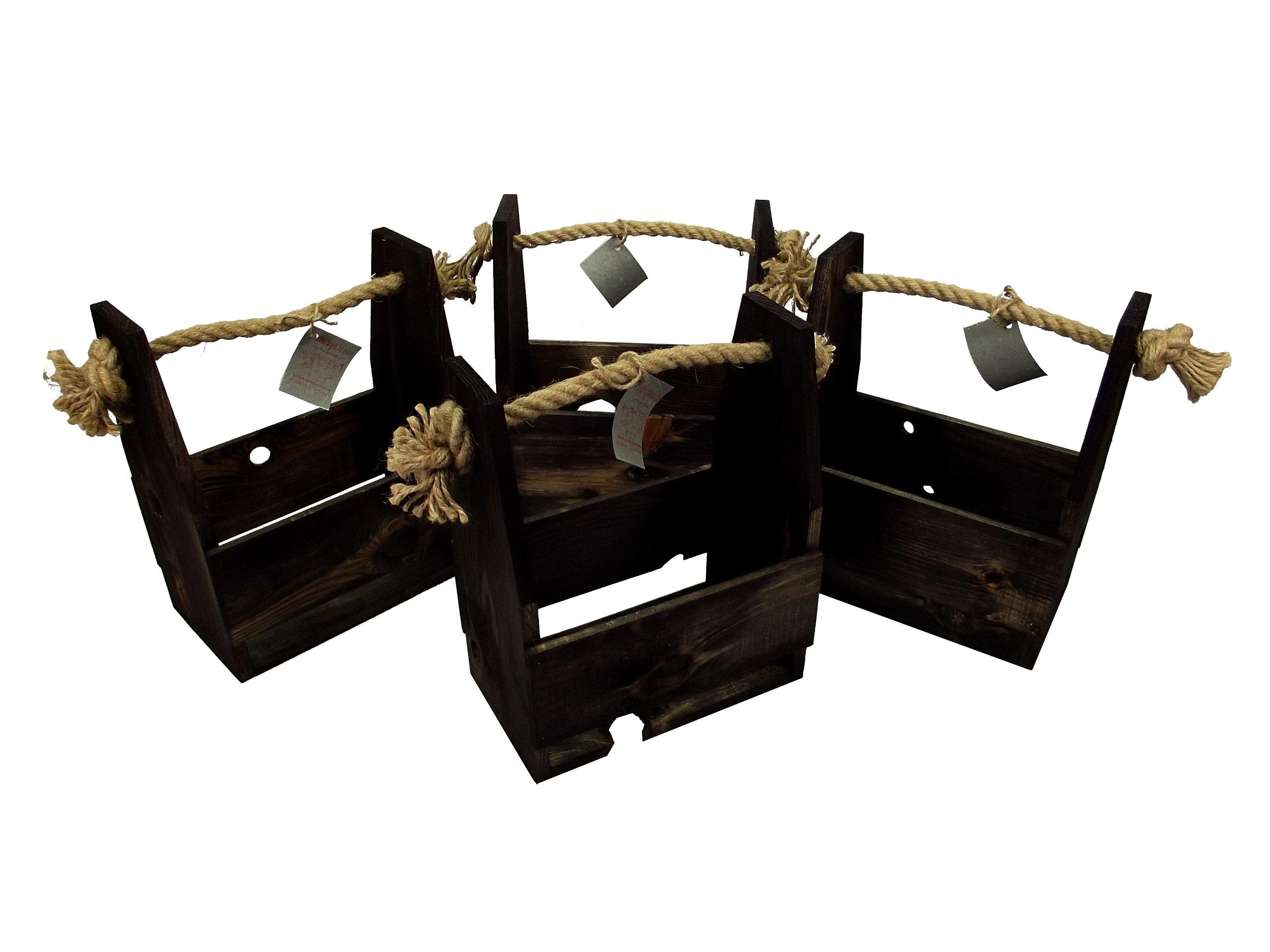 Drewniana skrzynka nosidło na piwo, sześciopak