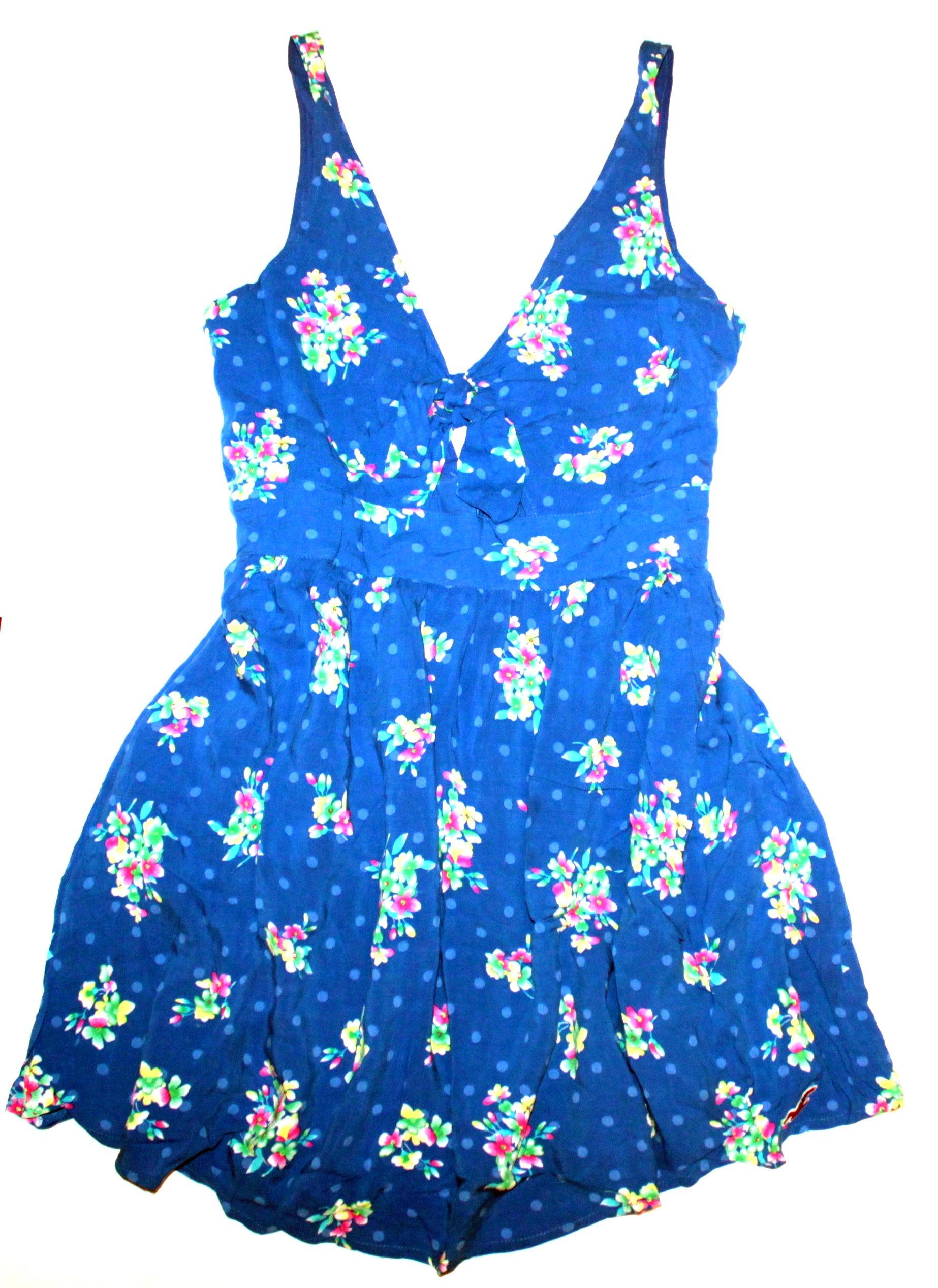 HOLLISTER Chabrowa Sukienka W Kwiaty Wiązanie