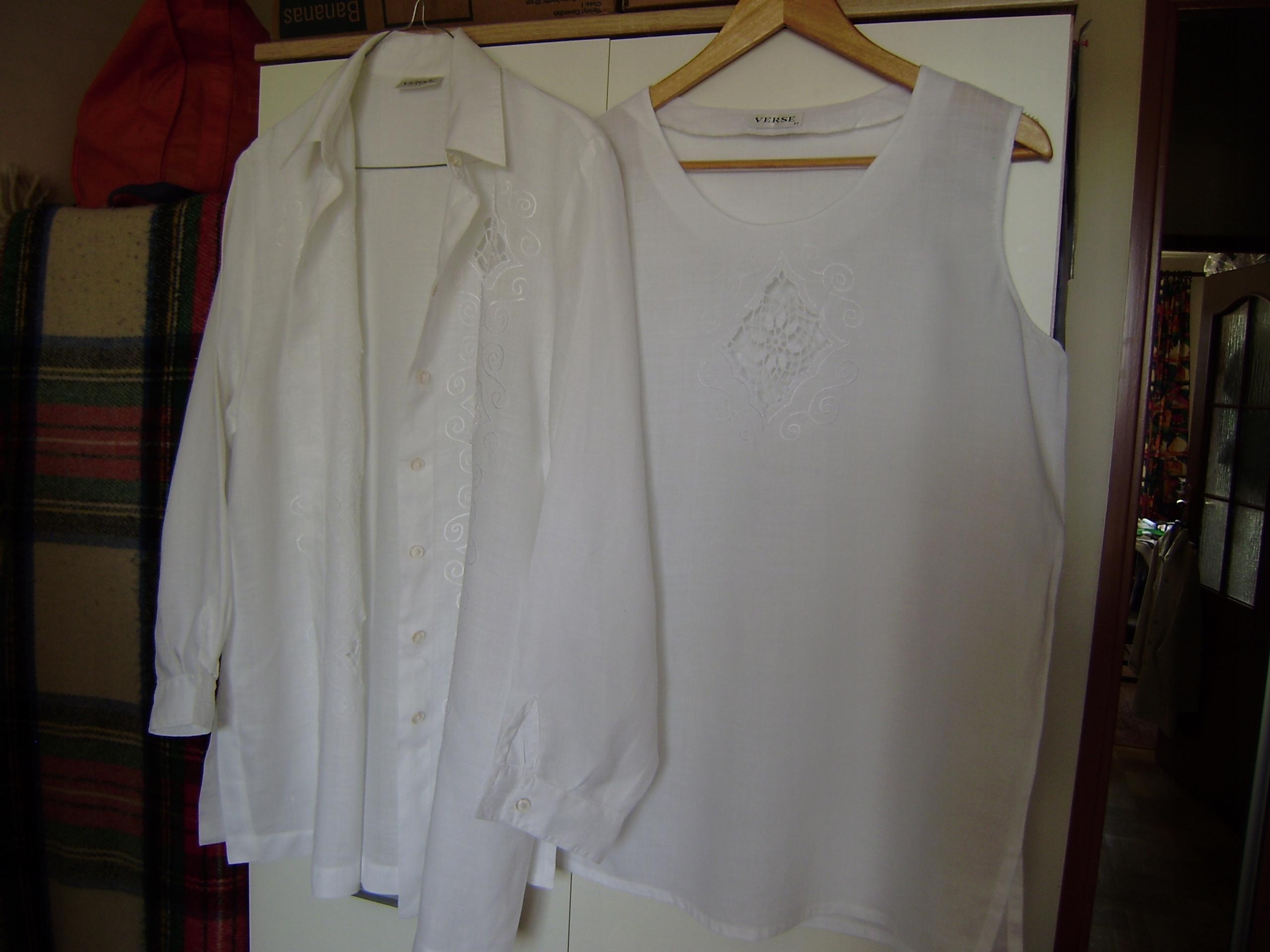 Tunika i bluzka VERSE 42, biel, haft, poduszki,LEN