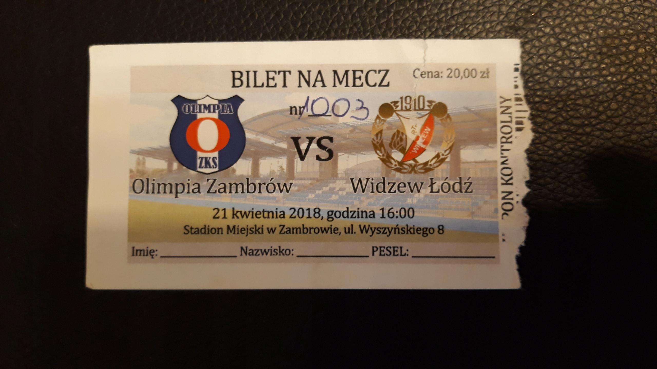 bilet Olimpia Zambrów- Widzew Łódź 21.04.2019