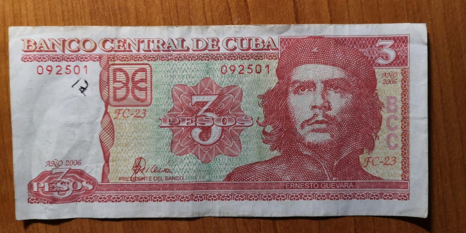 """Banknot 3 peso kubańskie z """"Cze"""""""