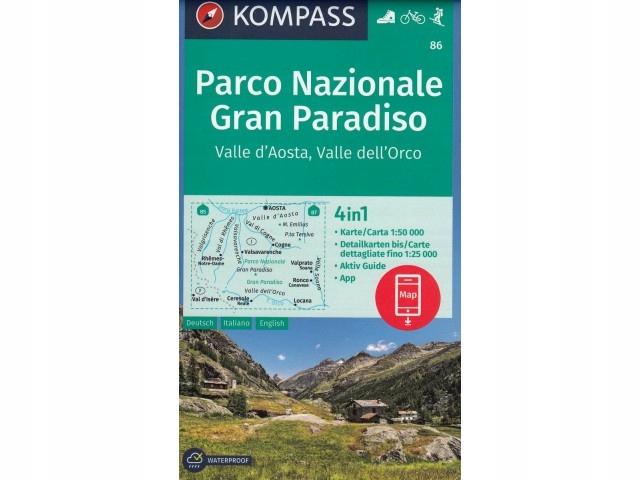 Mapa Parco Nazionale, Gran Paradiso, 1:50 000