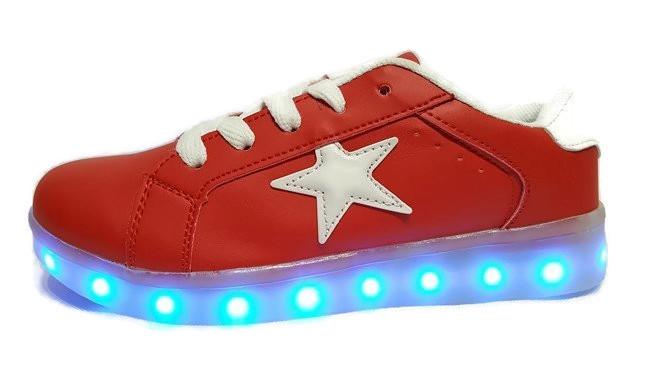 USB BUTY LED ŚWIECĄCE PODSWIETLANE STAR RED R.40