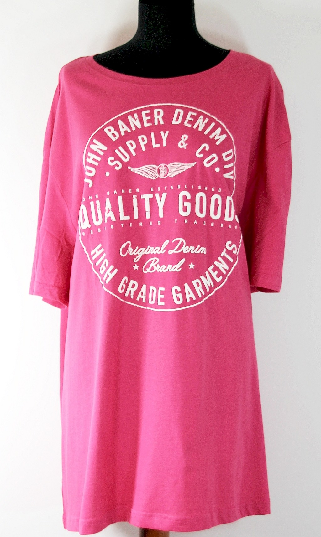 T-shirt róż z napisem 100% Bawełna R 64/66